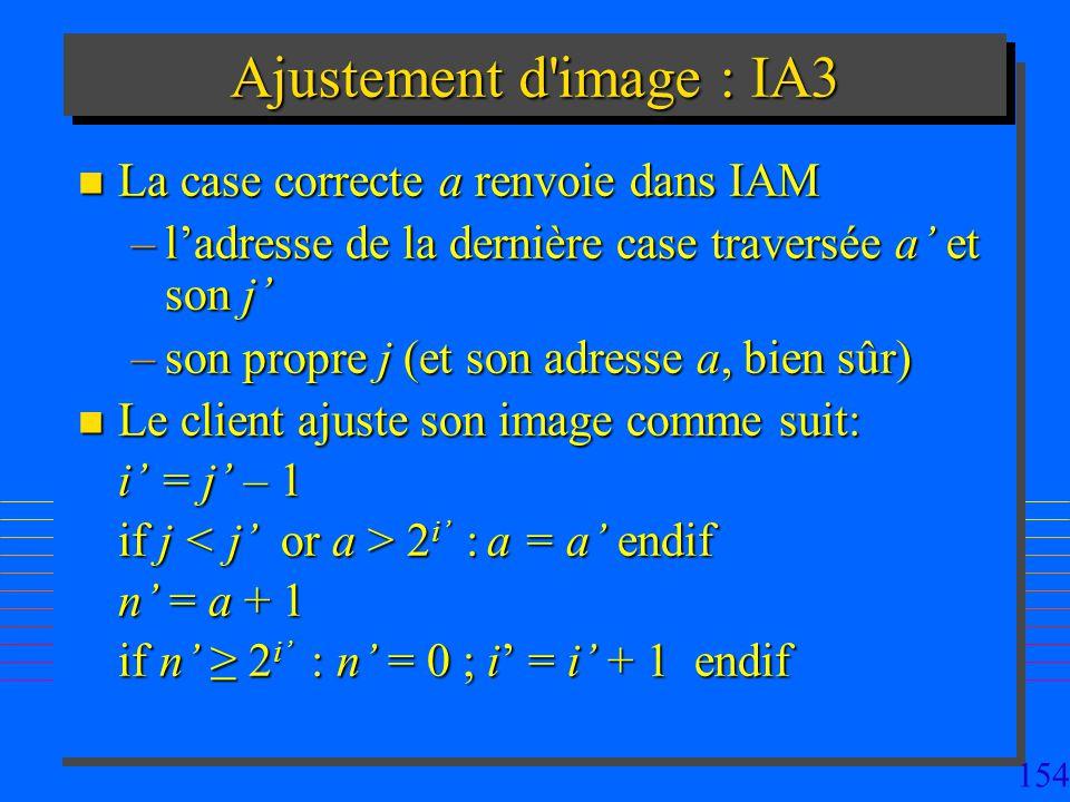 154 Ajustement d image : IA3 n La case correcte a renvoie dans IAM –ladresse de la dernière case traversée a et son j –son propre j (et son adresse a, bien sûr) n Le client ajuste son image comme suit: i = j – 1 i = j – 1 if j 2 i : a = a endif n = a + 1 if n 2 i : n = 0 ; i = i + 1 endif