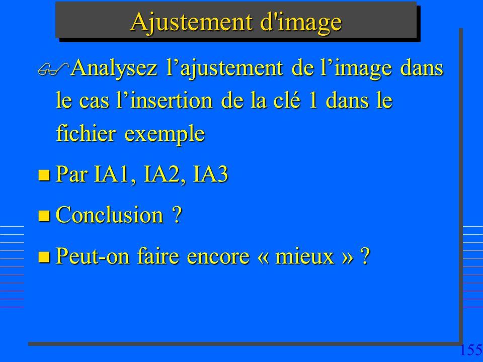 155 Ajustement d image Analysez lajustement de limage dans le cas linsertion de la clé 1 dans le fichier exemple Analysez lajustement de limage dans le cas linsertion de la clé 1 dans le fichier exemple n Par IA1, IA2, IA3 n Conclusion .