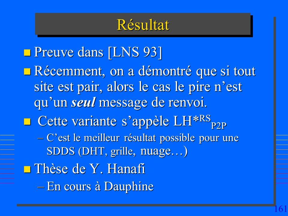 161 RésultatRésultat n Preuve dans [LNS 93] n Récemment, on a démontré que si tout site est pair, alors le cas le pire nest quun seul message de renvoi.