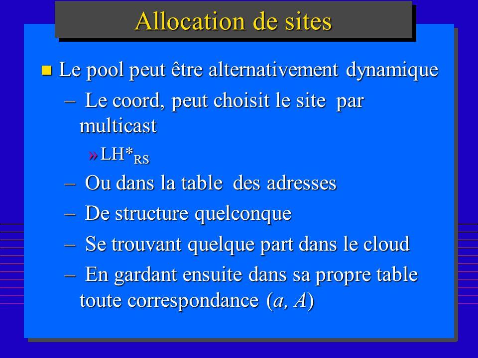 166 Allocation de sites n Le pool peut être alternativement dynamique – Le coord, peut choisit le site par multicast »LH* RS – Ou dans la table des adresses – De structure quelconque – Se trouvant quelque part dans le cloud – En gardant ensuite dans sa propre table toute correspondance (a, A)