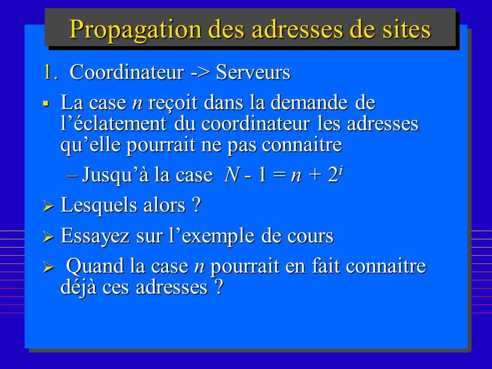 168 Propagation des adresses de sites 1.Coordinateur -> Serveurs La case n reçoit dans la demande de léclatement du coordinateur les adresses quelle p
