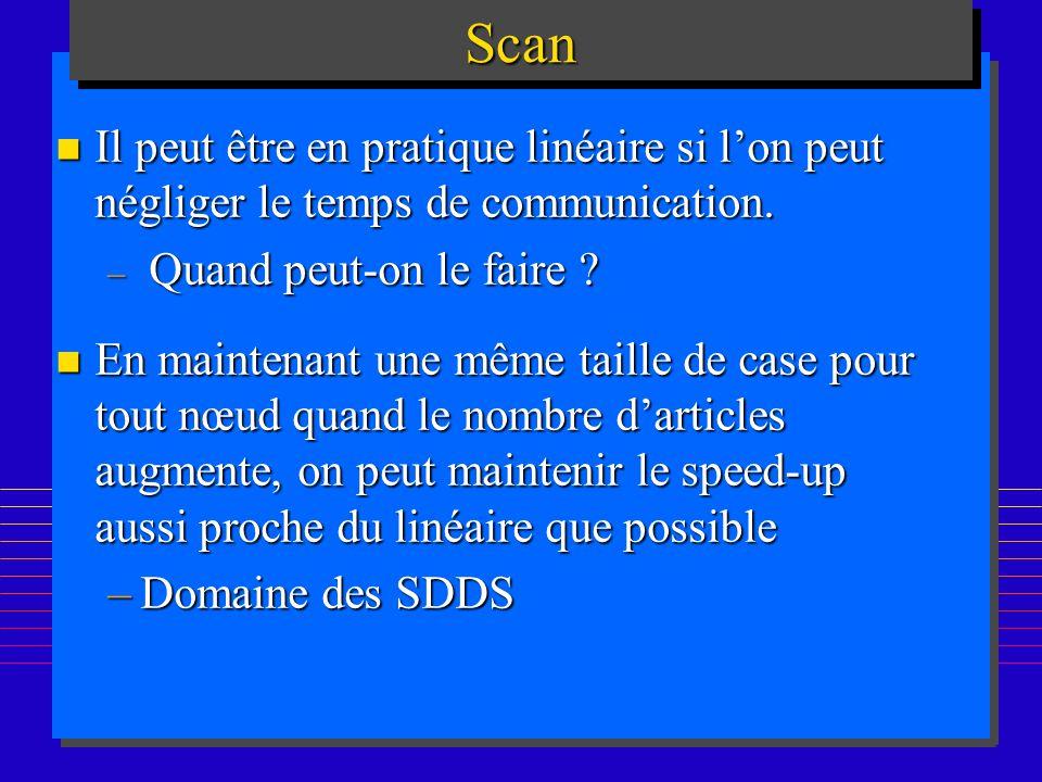 176ScanScan n Il peut être en pratique linéaire si lon peut négliger le temps de communication. – Quand peut-on le faire ? n En maintenant une même ta