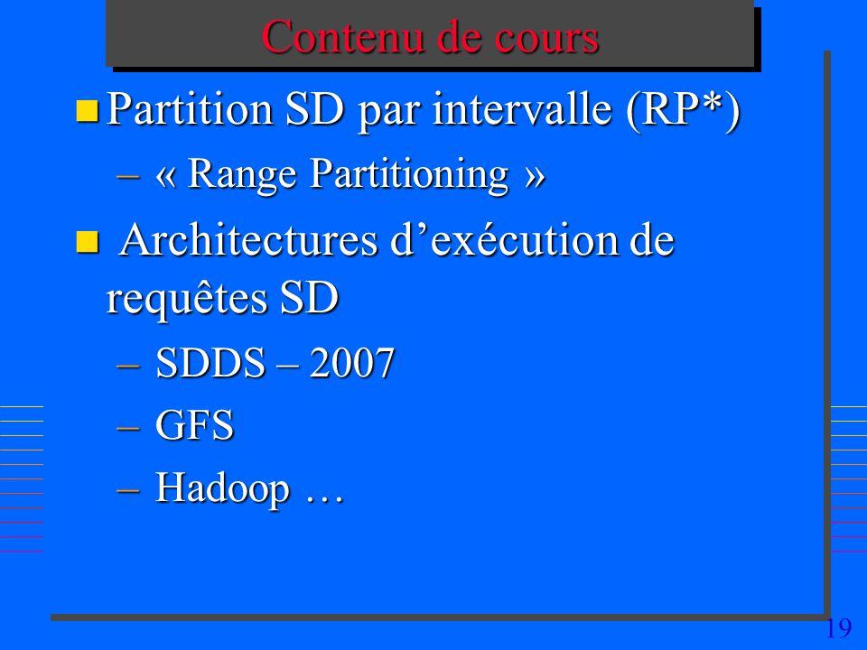 19 Contenu de cours n Partition SD par intervalle (RP*) – « Range Partitioning » n Architectures dexécution de requêtes SD – SDDS – 2007 – GFS – Hadoo