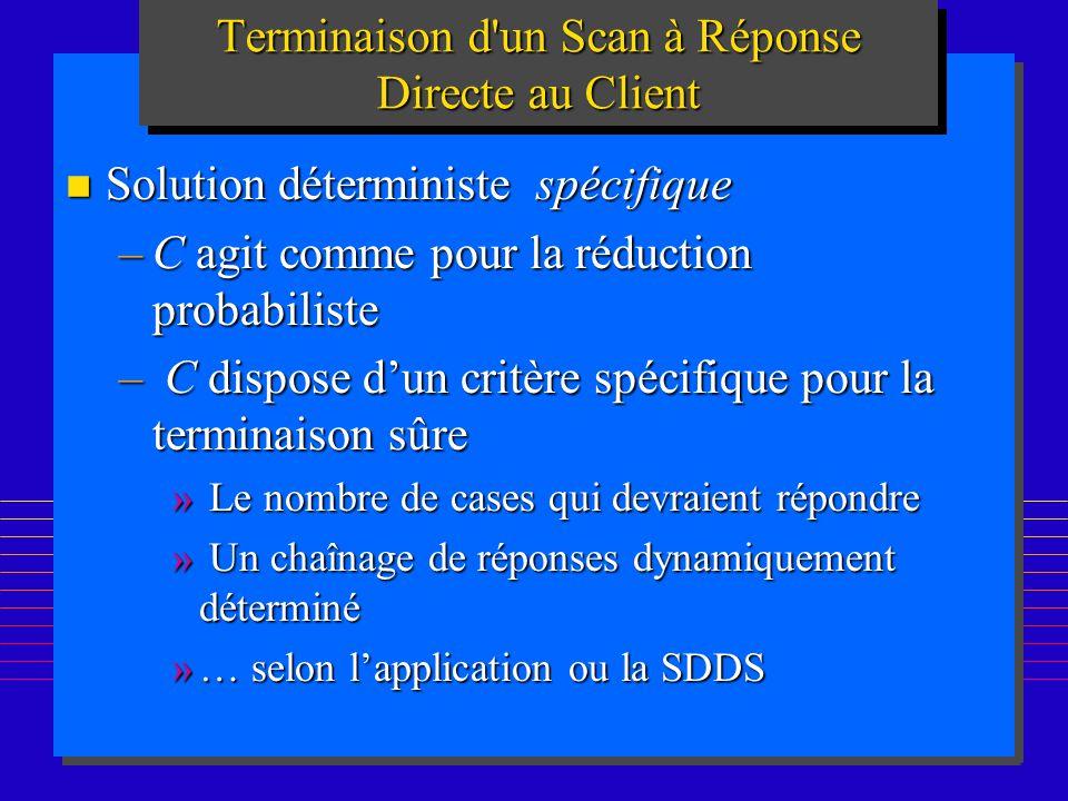 192 Terminaison d'un Scan à Réponse Directe au Client n Solution déterministe spécifique –C agit comme pour la réduction probabiliste – C dispose dun
