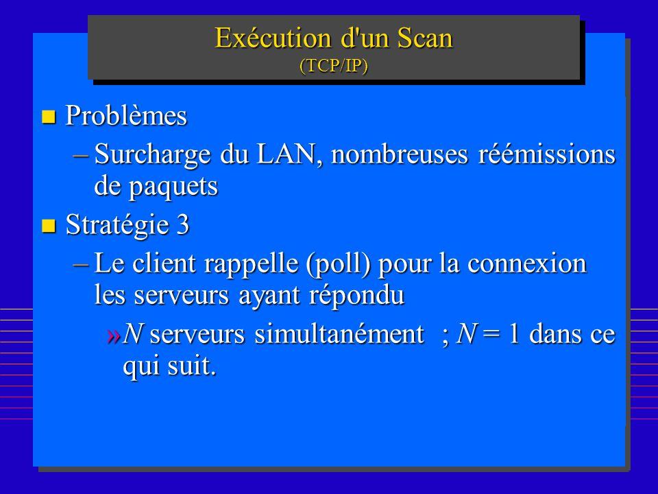 195 Exécution d un Scan (TCP/IP) n Problèmes –Surcharge du LAN, nombreuses réémissions de paquets n Stratégie 3 –Le client rappelle (poll) pour la connexion les serveurs ayant répondu »N serveurs simultanément ; N = 1 dans ce qui suit.