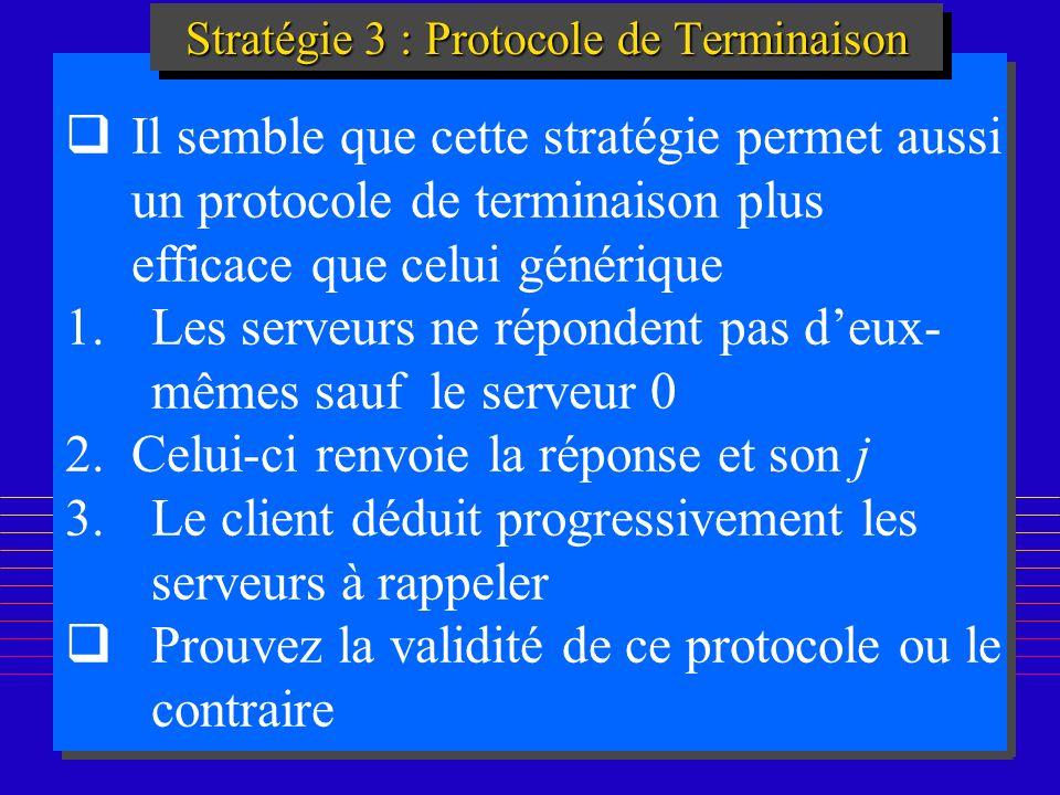 197 Stratégie 3 : Protocole de Terminaison Il semble que cette stratégie permet aussi un protocole de terminaison plus efficace que celui générique 1.Les serveurs ne répondent pas deux- mêmes sauf le serveur 0 2.Celui-ci renvoie la réponse et son j 3.Le client déduit progressivement les serveurs à rappeler Prouvez la validité de ce protocole ou le contraire