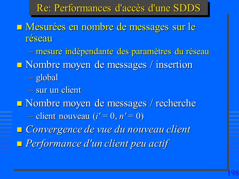 198 Re: Performances d accès d une SDDS n Mesurées en nombre de messages sur le réseau –mesure indépendante des paramètres du réseau n Nombre moyen de messages / insertion –global –sur un client n Nombre moyen de messages / recherche –client nouveau (i = 0, n = 0) n Convergence de vue du nouveau client n Performance d un client peu actif