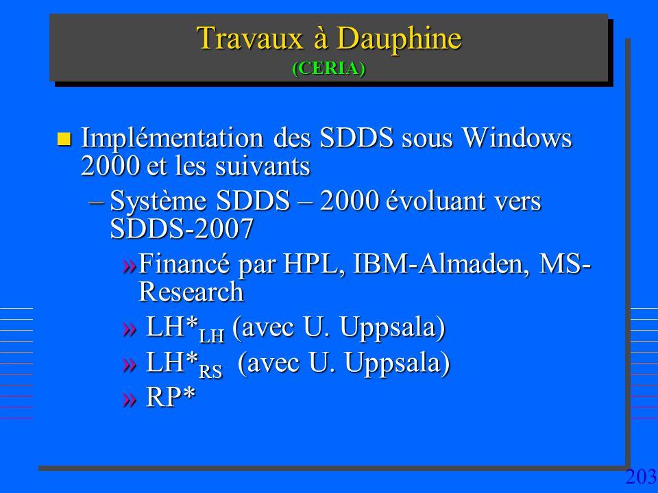 203 Travaux à Dauphine (CERIA) n Implémentation des SDDS sous Windows 2000 et les suivants –Système SDDS – 2000 évoluant vers SDDS-2007 »Financé par HPL, IBM-Almaden, MS- Research » LH* LH (avec U.