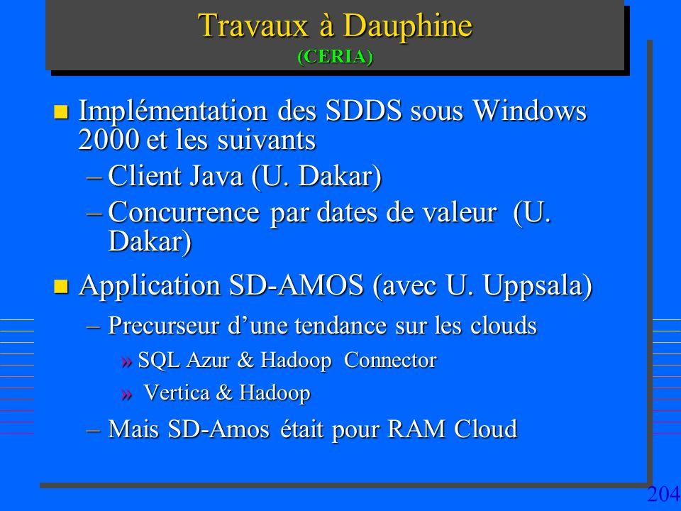 204 Travaux à Dauphine (CERIA) n Implémentation des SDDS sous Windows 2000 et les suivants –Client Java (U. Dakar) –Concurrence par dates de valeur (U