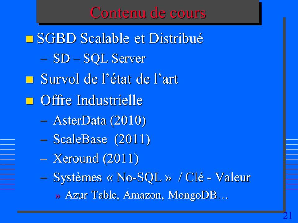 21 Contenu de cours n SGBD Scalable et Distribué – SD – SQL Server n Survol de létat de lart n Offre Industrielle – AsterData (2010) – ScaleBase (2011) – Xeround (2011) – Systèmes « No-SQL » / Clé - Valeur » Azur Table, Amazon, MongoDB…