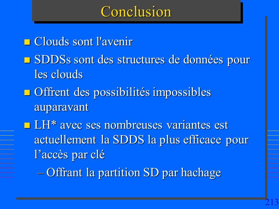 213ConclusionConclusion n Clouds sont l avenir n SDDSs sont des structures de données pour les clouds n Offrent des possibilités impossibles auparavant n LH* avec ses nombreuses variantes est actuellement la SDDS la plus efficace pour laccès par clé –Offrant la partition SD par hachage
