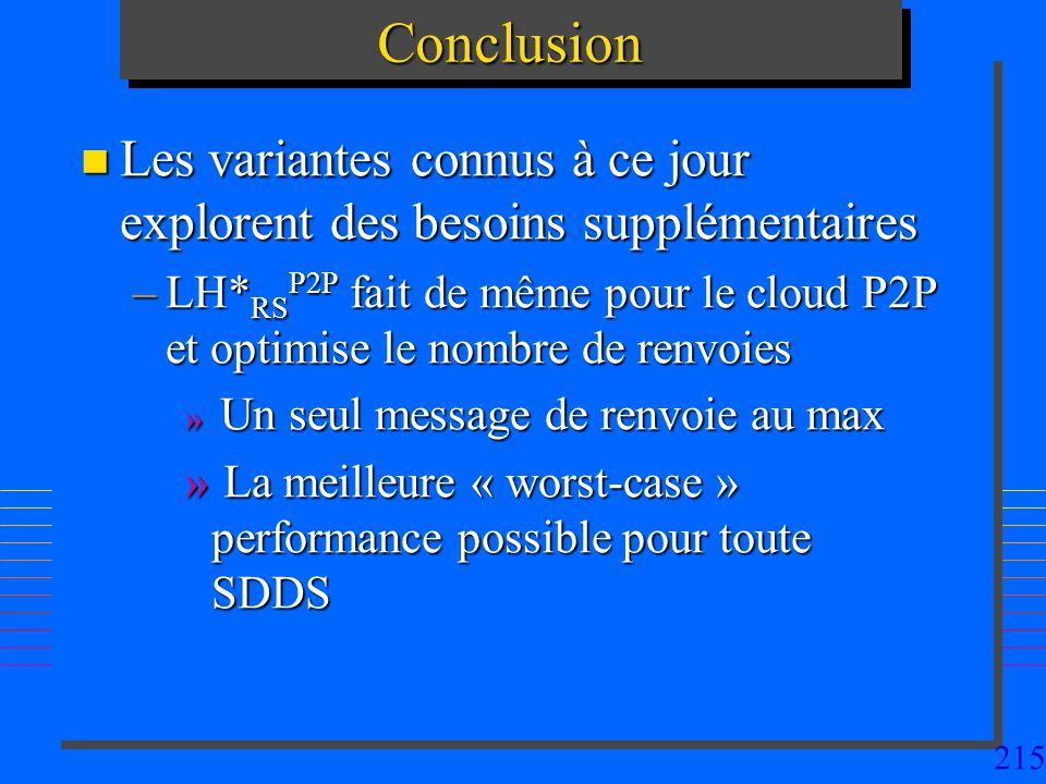 215ConclusionConclusion n Les variantes connus à ce jour explorent des besoins supplémentaires –LH* RS P2P fait de même pour le cloud P2P et optimise le nombre de renvoies » Un seul message de renvoie au max » La meilleure « worst-case » performance possible pour toute SDDS