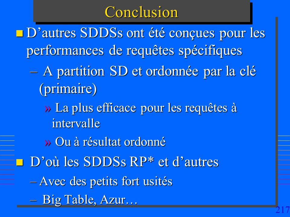 217ConclusionConclusion n Dautres SDDSs ont été conçues pour les performances de requêtes spécifiques – A partition SD et ordonnée par la clé (primaire) » La plus efficace pour les requêtes à intervalle » Ou à résultat ordonné n Doù les SDDSs RP* et dautres –Avec des petits fort usités – Big Table, Azur…