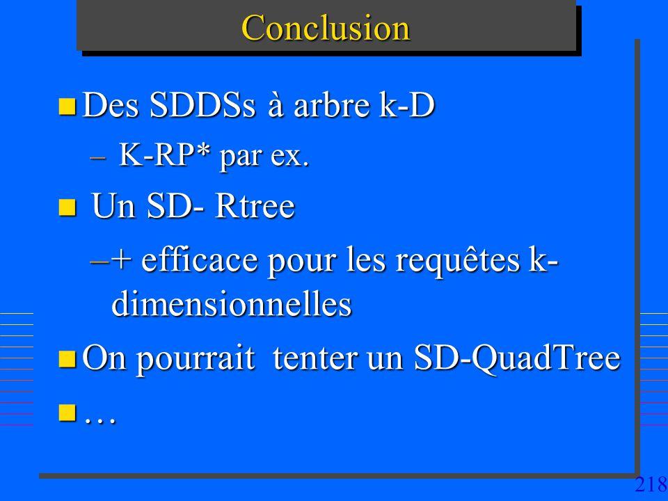 218ConclusionConclusion n Des SDDSs à arbre k-D – K-RP* par ex. n Un SD- Rtree –+ efficace pour les requêtes k- dimensionnelles n On pourrait tenter u
