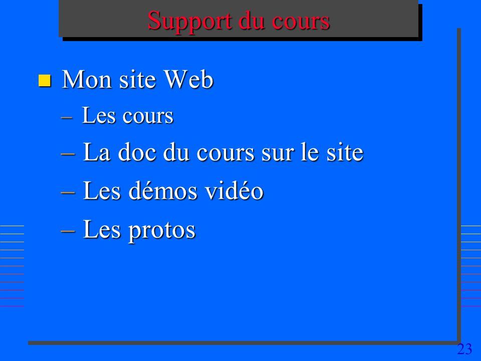 23 Support du cours n Mon site Web – Les cours – La doc du cours sur le site – Les démos vidéo – Les protos