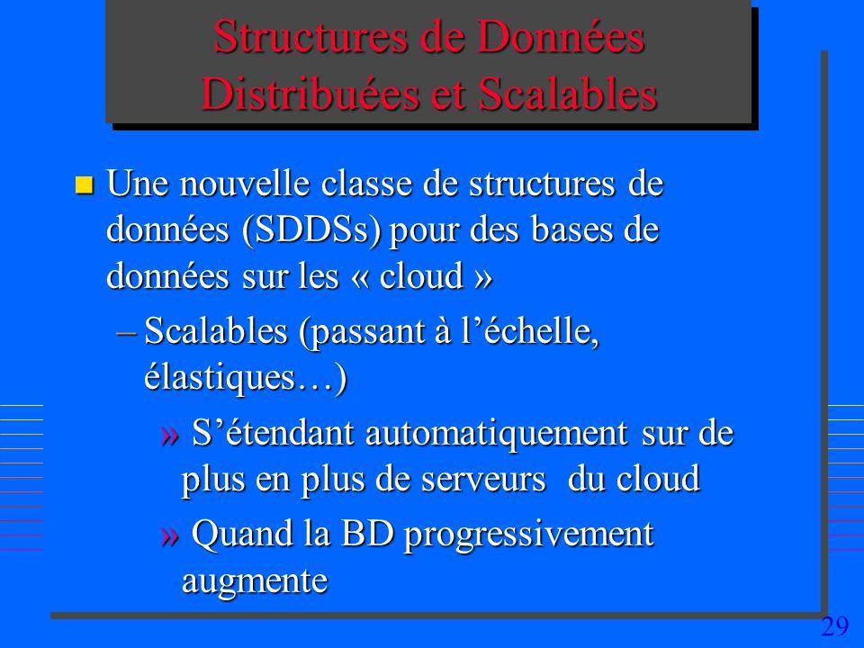 29 Structures de Données Distribuées et Scalables n Une nouvelle classe de structures de données (SDDSs) pour des bases de données sur les « cloud » –Scalables (passant à léchelle, élastiques…) » Sétendant automatiquement sur de plus en plus de serveurs du cloud » Quand la BD progressivement augmente