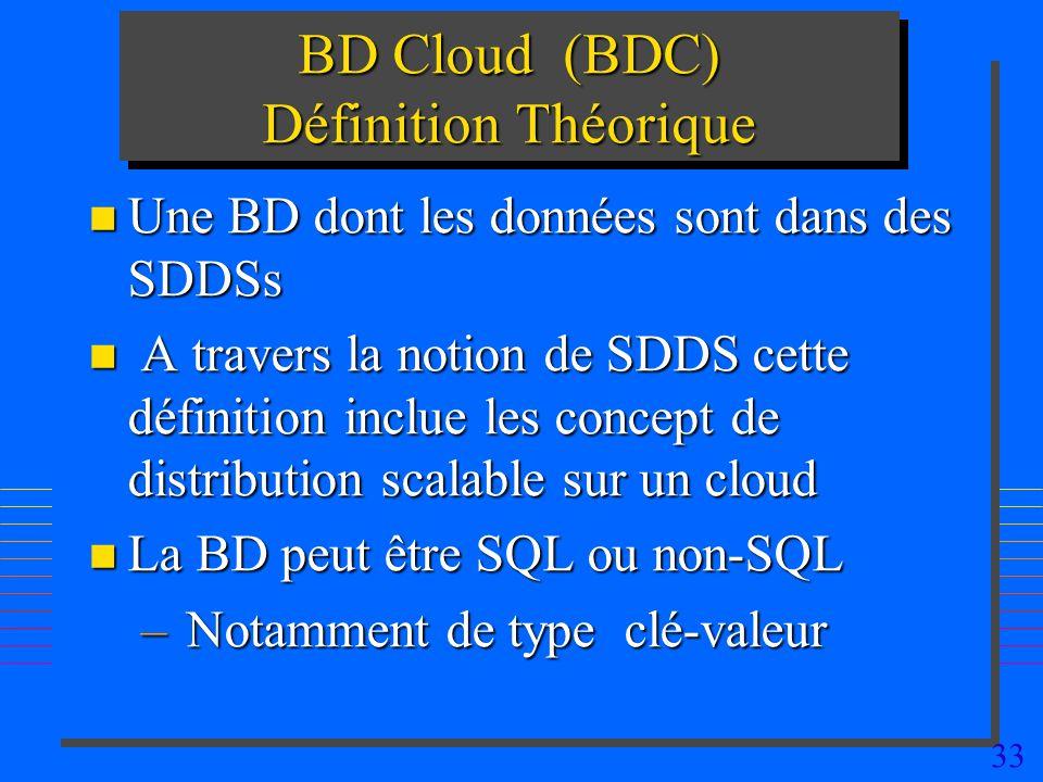 33 BD Cloud (BDC) Définition Théorique n Une BD dont les données sont dans des SDDSs n A travers la notion de SDDS cette définition inclue les concept de distribution scalable sur un cloud n La BD peut être SQL ou non-SQL – Notamment de type clé-valeur