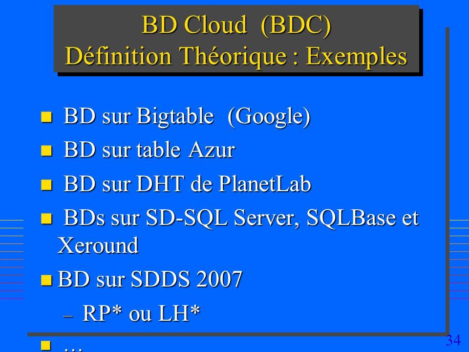 34 BD Cloud (BDC) Définition Théorique : Exemples n BD sur Bigtable (Google) n BD sur table Azur n BD sur DHT de PlanetLab n BDs sur SD-SQL Server, SQ