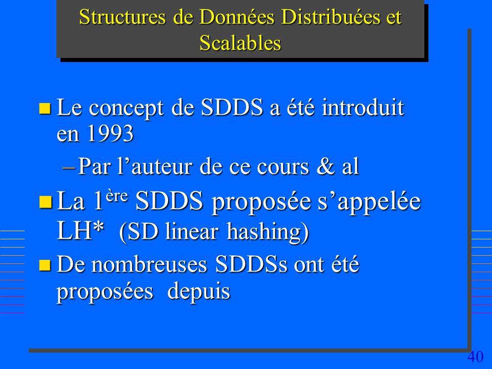40 Structures de Données Distribuées et Scalables n Le concept de SDDS a été introduit en 1993 –Par lauteur de ce cours & al n La 1 ère SDDS proposée sappelée LH* (SD linear hashing) n De nombreuses SDDSs ont été proposées depuis