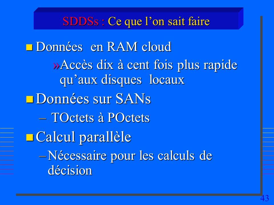 43 SDDSs : Ce que lon sait faire n Données en RAM cloud »Accès dix à cent fois plus rapide quaux disques locaux n Données sur SANs – TOctets à POctets n Calcul parallèle –Nécessaire pour les calculs de décision