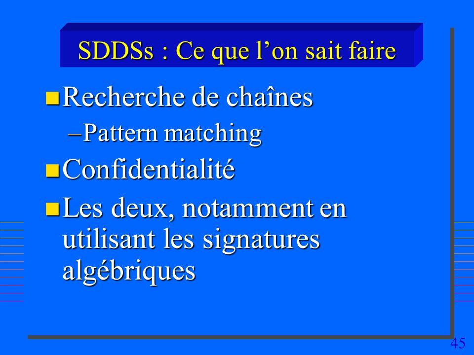 45 SDDSs : Ce que lon sait faire n Recherche de chaînes –Pattern matching n Confidentialité n Les deux, notamment en utilisant les signatures algébriques