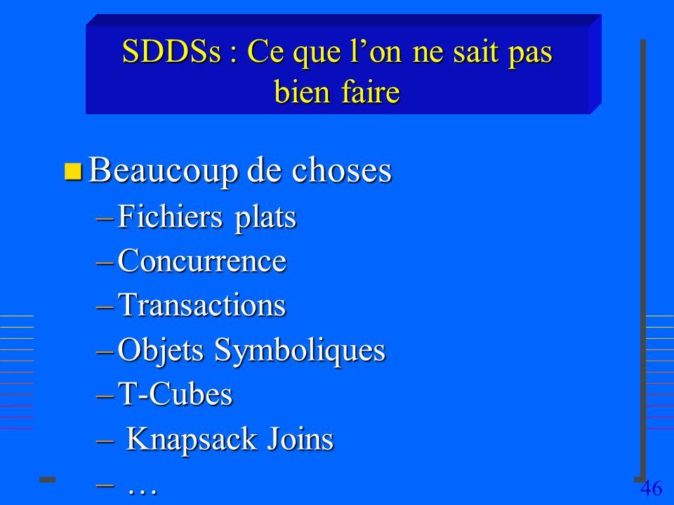 46 SDDSs : Ce que lon ne sait pas bien faire n Beaucoup de choses –Fichiers plats –Concurrence –Transactions –Objets Symboliques –T-Cubes – Knapsack Joins – …