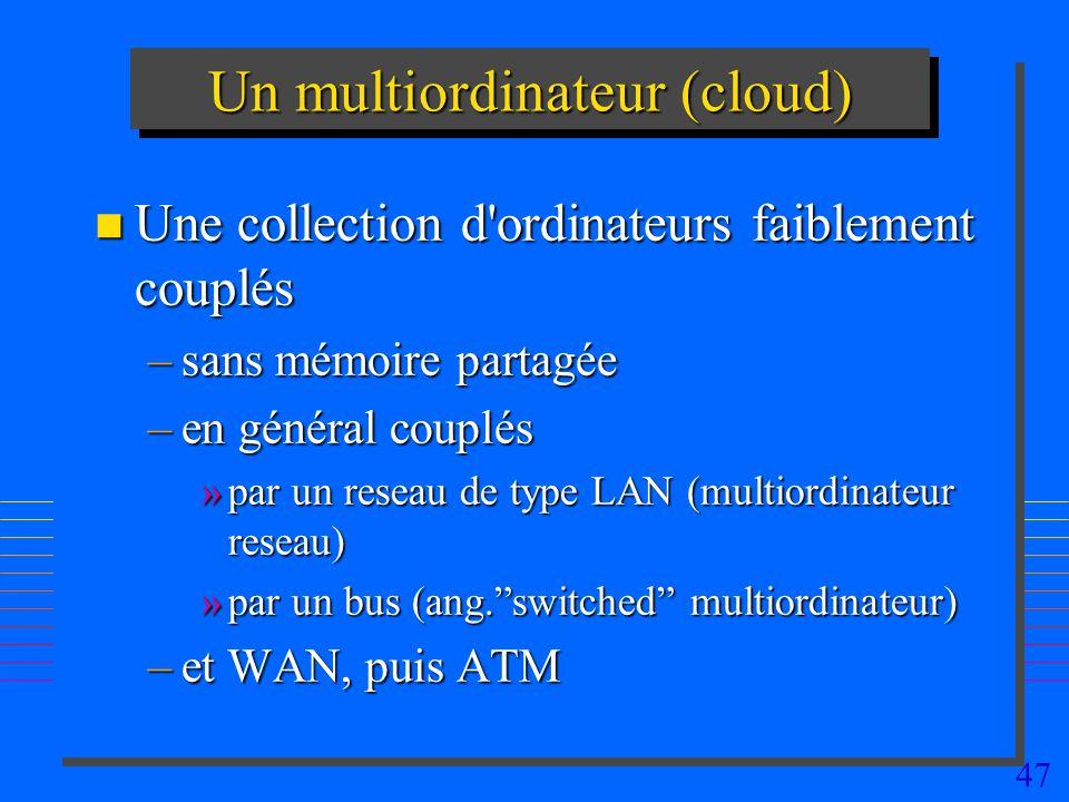 47 Un multiordinateur (cloud) n Une collection d ordinateurs faiblement couplés –sans mémoire partagée –en général couplés »par un reseau de type LAN (multiordinateur reseau) »par un bus (ang.switched multiordinateur) –et WAN, puis ATM