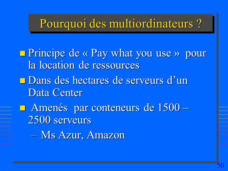50 Pourquoi des multiordinateurs ? n Principe de « Pay what you use » pour la location de ressources n Dans des hectares de serveurs dun Data Center n