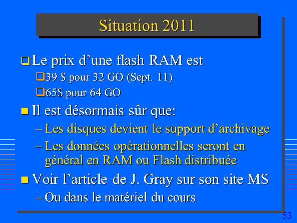 53 Situation 2011 Le prix dune flash RAM est Le prix dune flash RAM est 39 $ pour 32 GO (Sept. 11) 39 $ pour 32 GO (Sept. 11) 65$ pour 64 GO 65$ pour