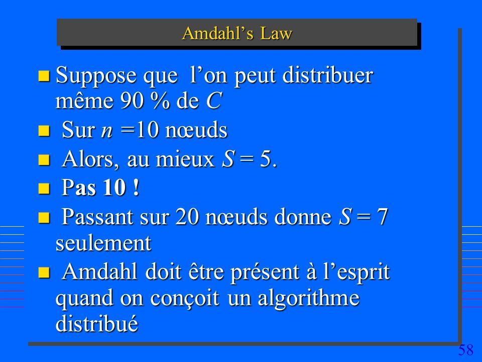 58 Amdahls Law n Suppose que lon peut distribuer même 90 % de C n Sur n =10 nœuds n Alors, au mieux S = 5. n Pas 10 ! n Passant sur 20 nœuds donne S =