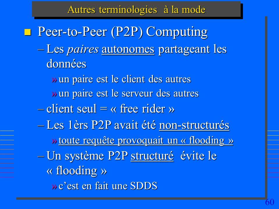60 Autres terminologies à la mode n Peer-to-Peer (P2P) Computing –Les paires autonomes partageant les données »un paire est le client des autres »un paire est le serveur des autres –client seul = « free rider » –Les 1èrs P2P avait été non-structurés »toute requête provoquait un « flooding » –Un système P2P structuré évite le « flooding » »cest en fait une SDDS