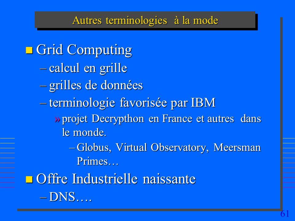 61 Autres terminologies à la mode n Grid Computing –calcul en grille –grilles de données –terminologie favorisée par IBM »projet Decrypthon en France et autres dans le monde.