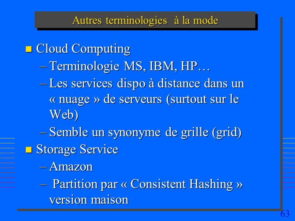 63 Autres terminologies à la mode n Cloud Computing –Terminologie MS, IBM, HP… –Les services dispo à distance dans un « nuage » de serveurs (surtout sur le Web) –Semble un synonyme de grille (grid) n Storage Service –Amazon –Amazon – Partition par « Consistent Hashing » version maison