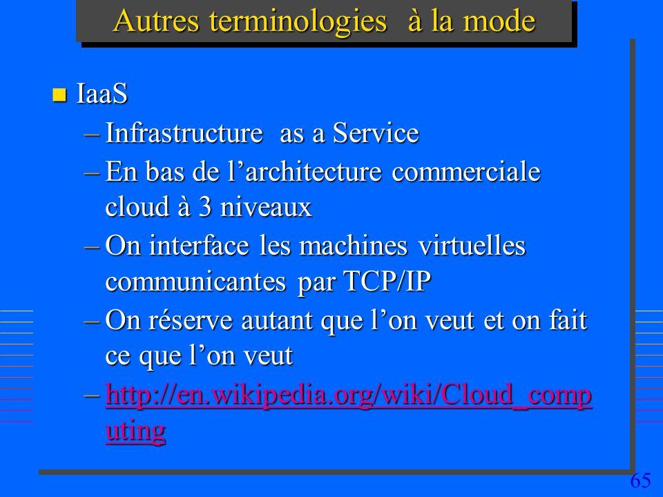 65 Autres terminologies à la mode n IaaS –Infrastructure as a Service –En bas de larchitecture commerciale cloud à 3 niveaux –On interface les machines virtuelles communicantes par TCP/IP –On réserve autant que lon veut et on fait ce que lon veut –http://en.wikipedia.org/wiki/Cloud_comp uting http://en.wikipedia.org/wiki/Cloud_comp utinghttp://en.wikipedia.org/wiki/Cloud_comp uting