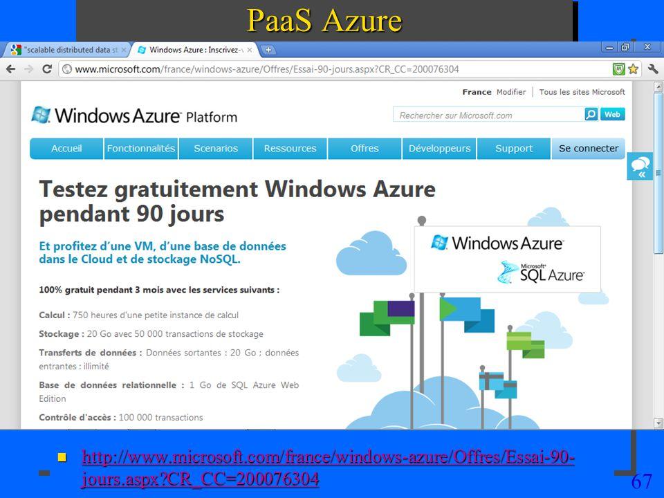 67 PaaS Azure n http://www.microsoft.com/france/windows-azure/Offres/Essai-90- jours.aspx?CR_CC=200076304 http://www.microsoft.com/france/windows-azur