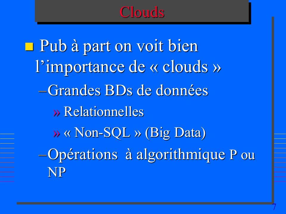 7CloudsClouds n Pub à part on voit bien limportance de « clouds » –Grandes BDs de données » Relationnelles » « Non-SQL » (Big Data) –Opérations à algorithmique P ou NP
