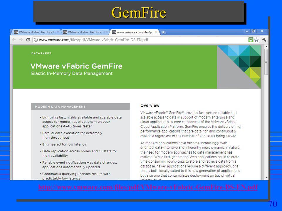 70 GemFireGemFire http://www.vmware.com/files/pdf/VMware-vFabric-GemFire-DS-EN.pdf