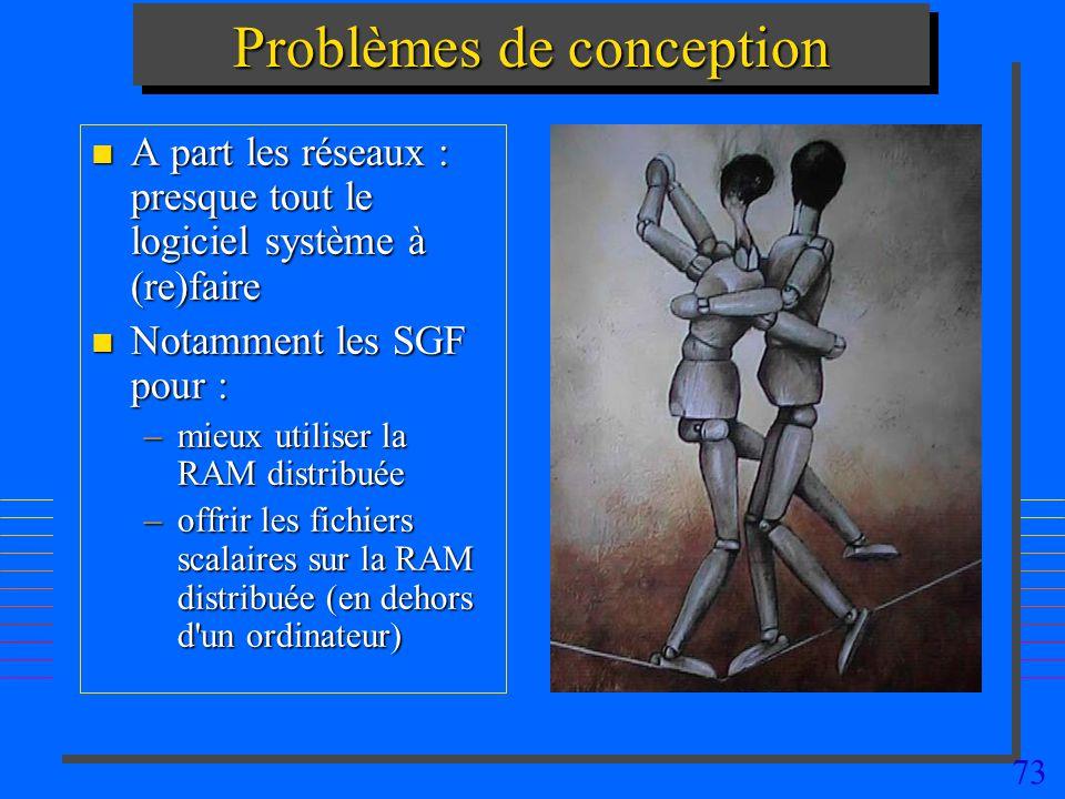 73 Problèmes de conception n A part les réseaux : presque tout le logiciel système à (re)faire n Notamment les SGF pour : –mieux utiliser la RAM distribuée –offrir les fichiers scalaires sur la RAM distribuée (en dehors d un ordinateur)