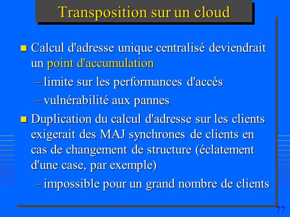 77 Transposition sur un cloud n Calcul d'adresse unique centralisé deviendrait un point d'accumulation –limite sur les performances d'accès –vulnérabi