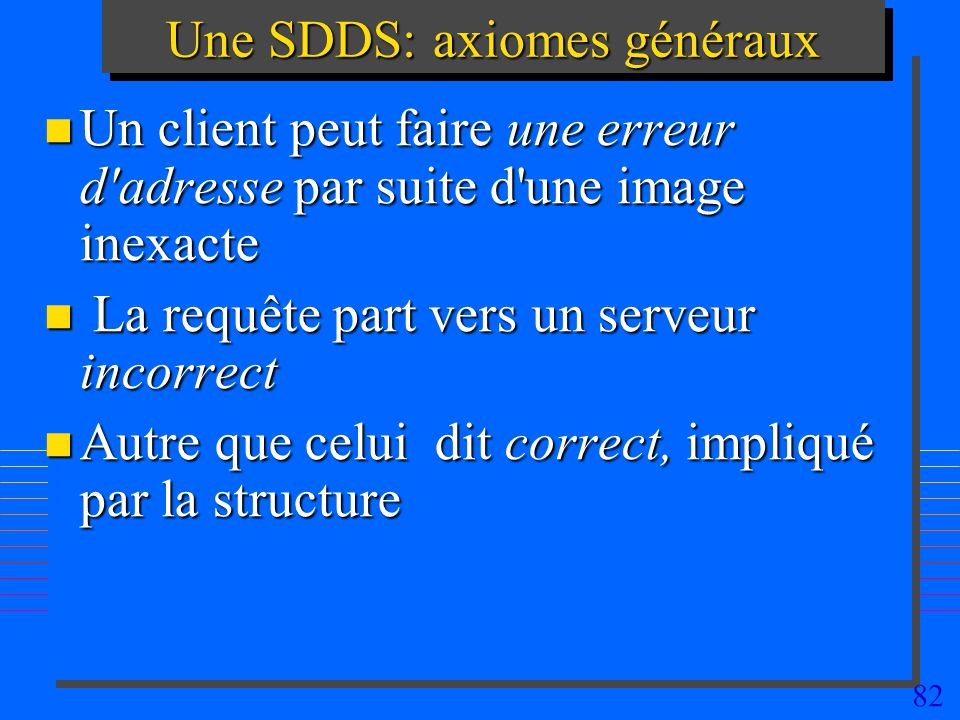 82 Une SDDS: axiomes généraux n Un client peut faire une erreur d adresse par suite d une image inexacte n La requête part vers un serveur incorrect n Autre que celui dit correct, impliqué par la structure
