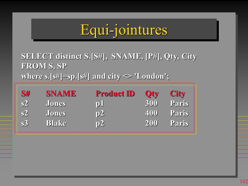 101 JointuresJointures SELECT distinct S.[S#], SNAME, [P#], Qty, City FROM S, SP where s.[s#]=sp.[s#] and city <> London ;