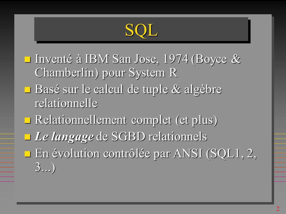 2 SQLSQL n Inventé à IBM San Jose, 1974 (Boyce & Chamberlin) pour System R n Basé sur le calcul de tuple & algèbre relationnelle n Relationnellement complet (et plus) n Le langage de SGBD relationnels n En évolution contrôlée par ANSI (SQL1, 2, 3...)
