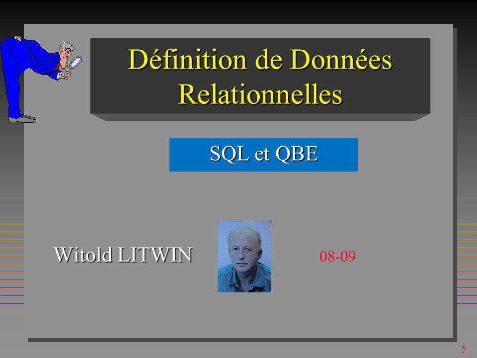 65 SQLSQL n Inventé à IBM San Jose, 1974 (Boyce & Chamberlin) pour System R n Basé sur le calcul de tuple & algèbre relationnelle n relationnellement complet (et plus) n Le langage de SGBD relationnels n En évolution contrôlée par ANSI (SQL1, 2, 3...) n Il existe aussi plusieurs dialectes n Les possibilités basiques sont simples n Celles avancées peuvent être fort complexes –Signalées dans ce qui suit par « Maillot Jaune »