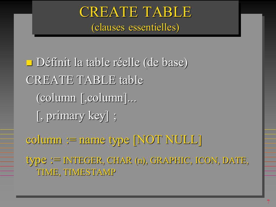 7 CREATE TABLE (clauses essentielles) n Définit la table réelle (de base) CREATE TABLE table (column [,column]...