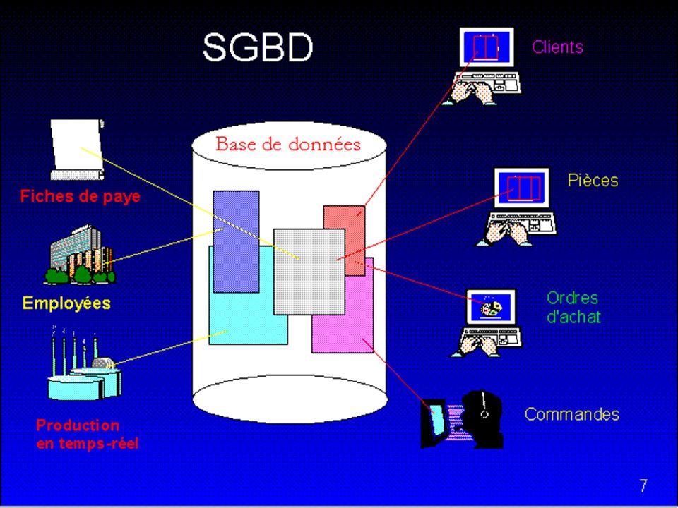 12 SGBD SGBDs populaire aujourdhui MsAccess, SQL Server Oracle MySQL DB2 Postgres Sybase SQL Anywhere OpenOfficeBase, TimesTen, DBLibrary, Adabas, SAS