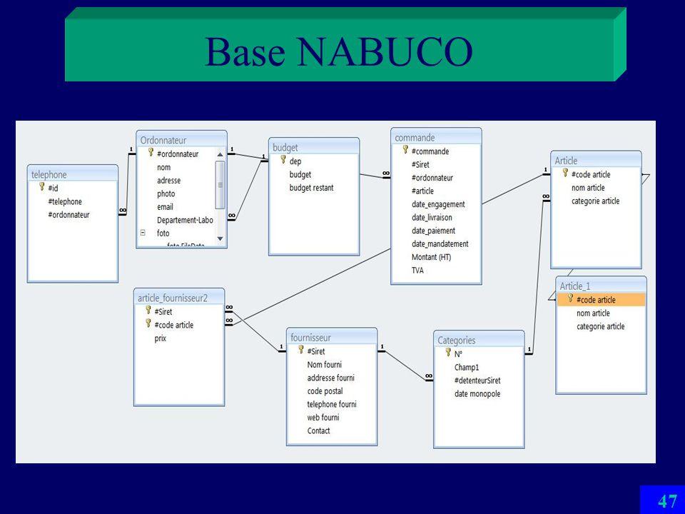 Base NABUCO 46 CS proposé par un de projets ISF 08 Simulation du système universitaire de comptabilité publique NABUCO réel nest pas une BD Doù beauco