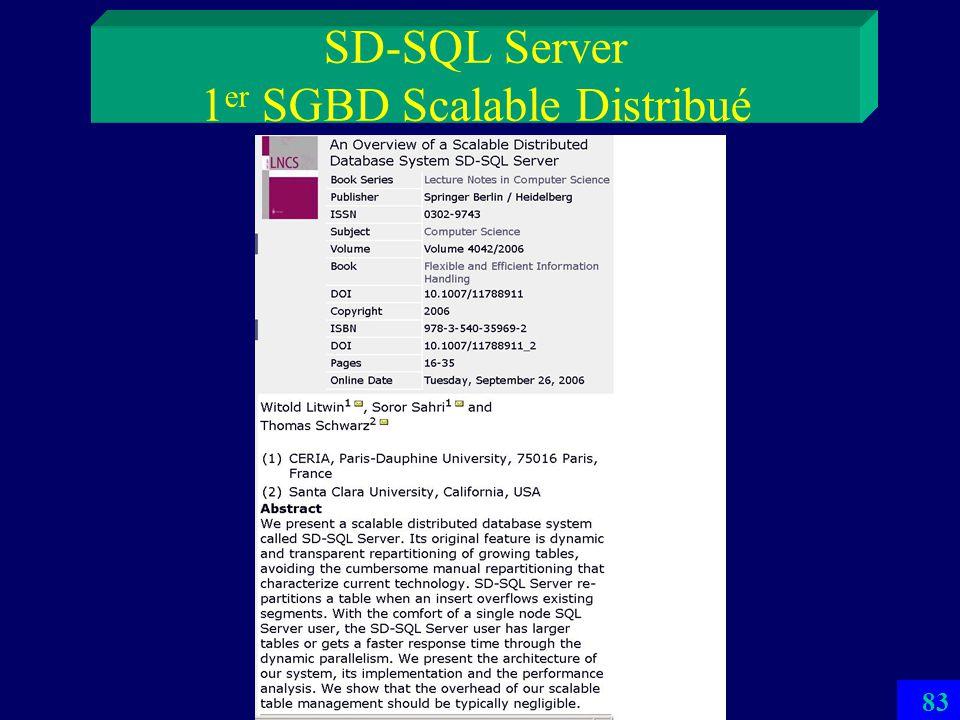 82 SD-SQL Server 1 er SGBD Scalable Distribué Utilise le principe des SDDS Les tables relationnelles se répartissent automatiquement par éclatements s