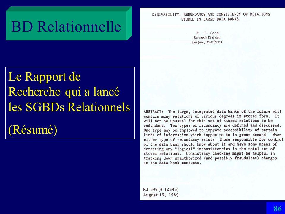 85 Le Rapport de Recherche qui a lancé les SGBDs Relationnels (publié uniquement en interne à IBM Almaden Research Center (CA) BD Relationnelle