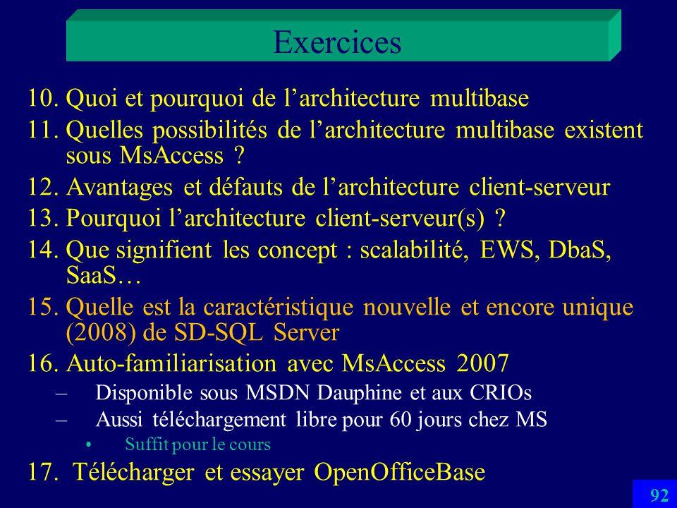 91 Exercices 1.Définition du concept de BD 2.Avantages essentiels dune BD sur un fichier 3.Commentez le concept de schéma inté gré 4.Un exemple dune c