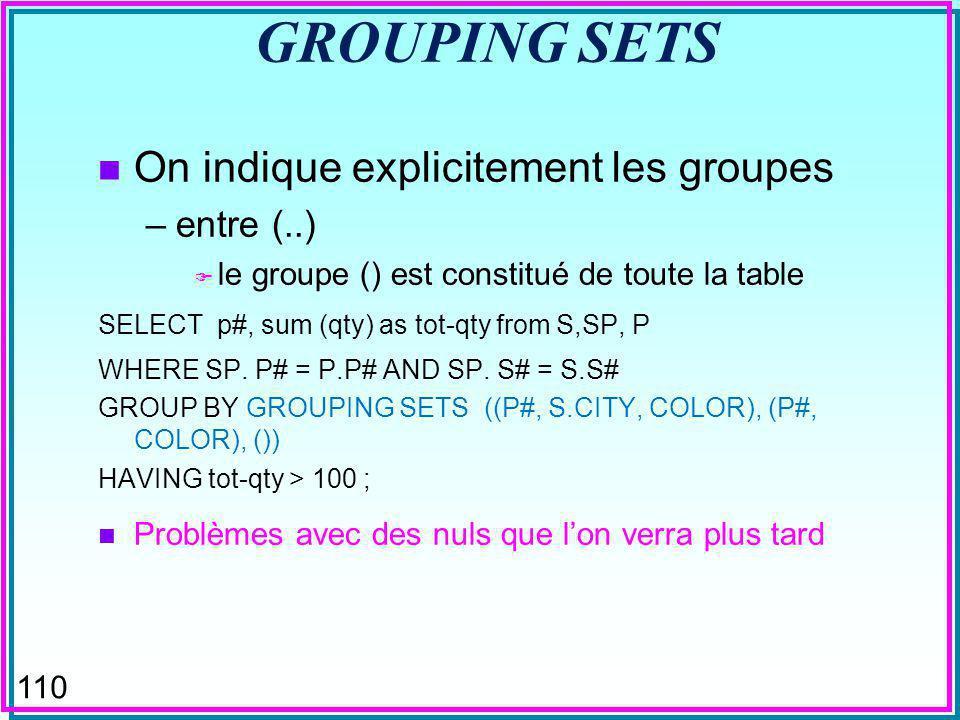 109 CUBE (DB2 & SQL-Server) n Groupements multiples selon toutes les dimensions –l ordre des attributs dans la clause n a pas d importance –les attributs sont progressivement « oublies » de droite à gauche n Remplace plusieurs requêtes GROUP BY SELECT p#, sum (qty) as tot-qty from S,SP, P WHERE SP.